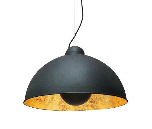 Lampa wisząca - Antenne - Zuma Line - metalowa, czerń, złoto
