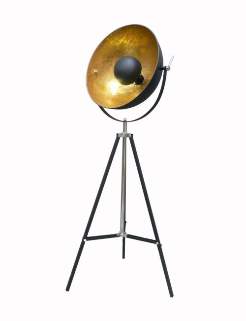 Lampa podłogowa - Antenne Zuma Line - metal, czerń, złoto