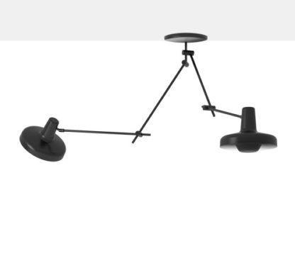 nowoczesna lampa wisząca z dwoma mobilnymi kloszami, regulowane ramiona w czarnym kolorze