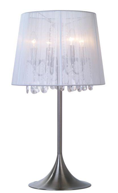 Lampa stołowa - Artemida - Zuma Line - delikatny abażur, szkło, aluminium