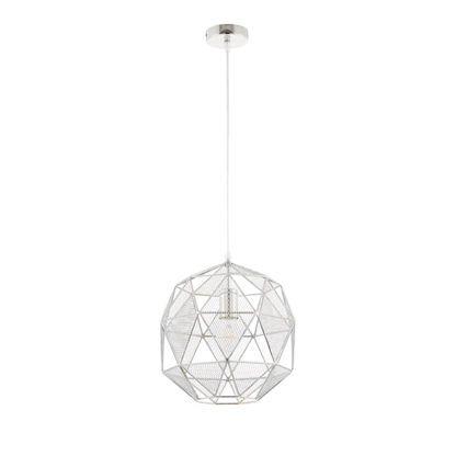 srebrna lampa wisząca, ażurowy metal, wielościan, styl industrialny