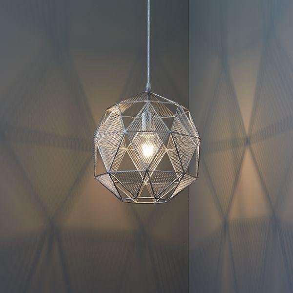 Ażurowa lampa wisząca Armour – Endon Lighting – chrom