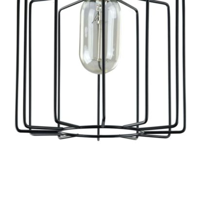 wisząca lampa druciana geometryczna z żarówką designerską