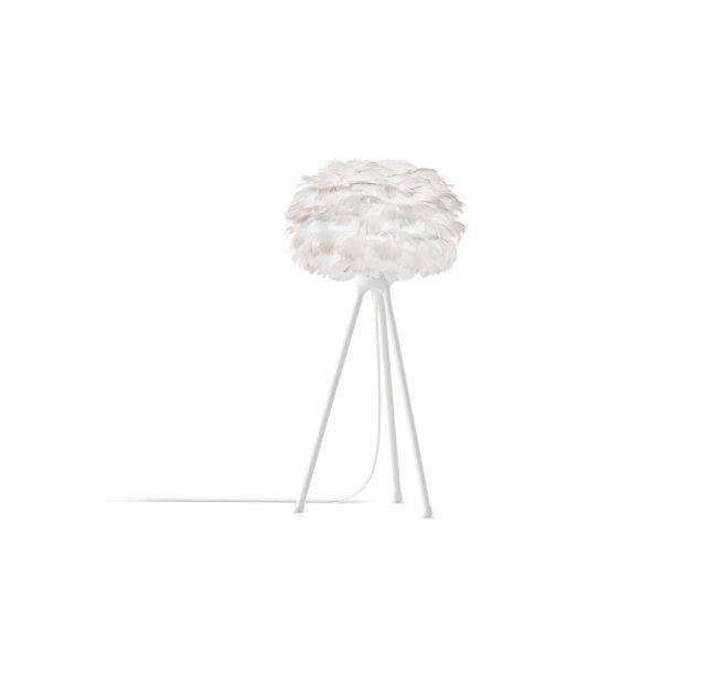 lampa stołowa na czarnym trójnogu, biały klosz kula z piór