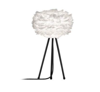 biały klosz na czarnej podstawie w formie trójnogu, lampa stołowa w skandynawskim stylu
