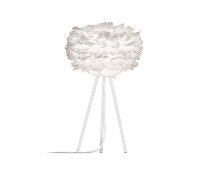 mała lampa wisząca z kloszem z białych piór, styl skandynawski