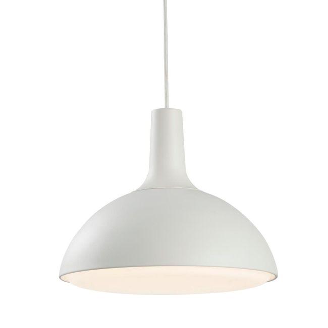 matowa lampa wisząca z białym kloszem