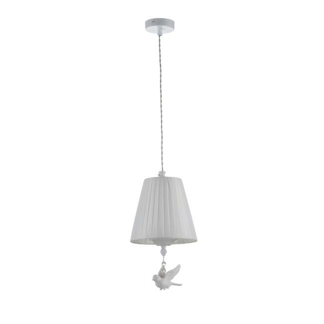 Biała klasyczna lampa wisząca Passarinho - Maytoni - metal, tkanina