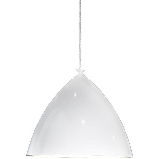 biała lampa w stylu nowoczesnym z szerokim kloszem - aranżacja