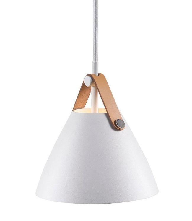 Biała lampa wisząca Strap 16 - DFTP - Nordlux - metalowy klosz
