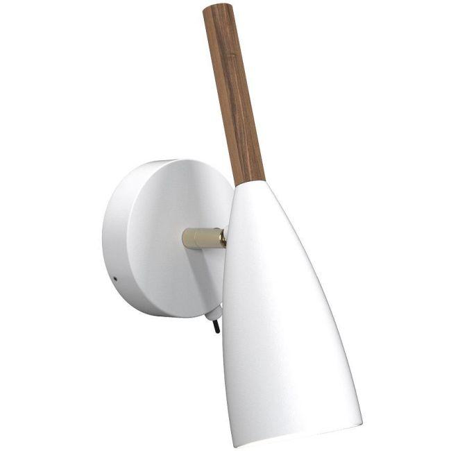 biały kinkiet ze smukłym kloszem i drewnianym zakończeniem