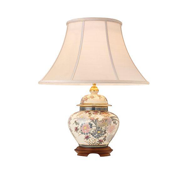 ceramiczna lampa stołowa pastelowa z drewnianą podstawą