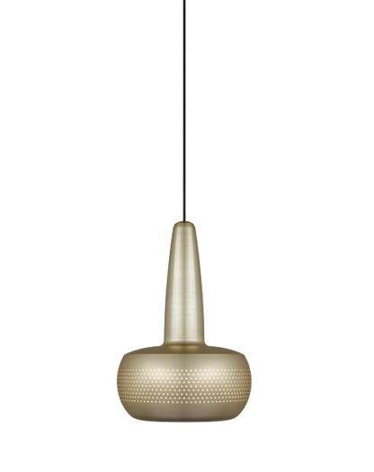 mała lampa wisząca z kloszem w kolorze mosiądzu. styl skandynawski
