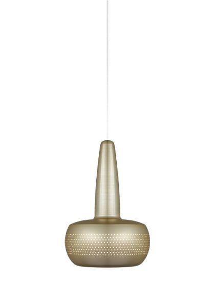 mosiężna lampa wisząca w nowoczesnym stylu, mały klosz