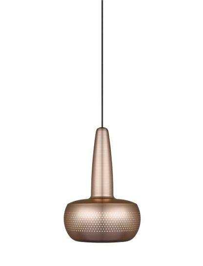 mosiężna lampa wisząca z małym kloszem z perforacjami. styl nowoczesny