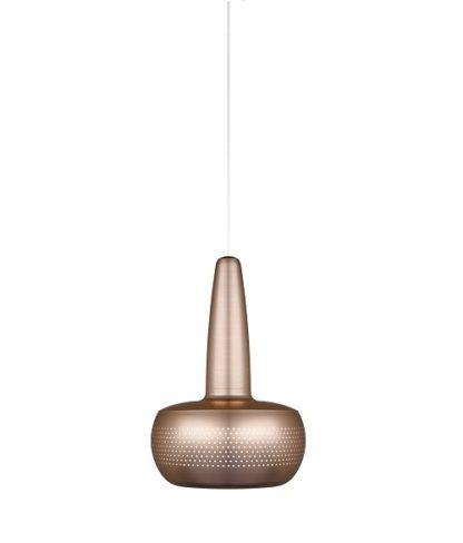 mała lampa wisząca w nowoczesnym stylu, klosz w kolorze mosiądz