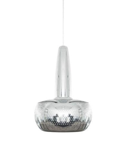 mała lampa wisząca z chromowanymi wykończeniami, styl nowoczesny