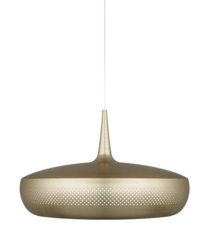 lampa wisząca z płaskim, mosiężnym kloszem, styl nowoczesny