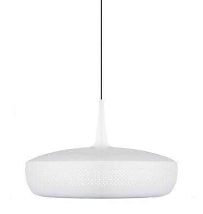 biała lampa wisząca w stylu nowoczesny, czarny przewód
