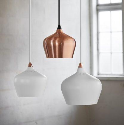 lampa wisząca z metalowym kloszem, miedziana