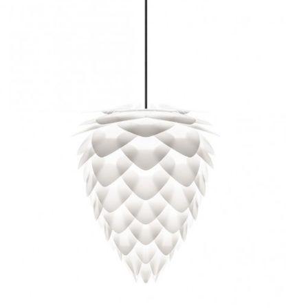 biała lampa wisząca w kształcie szyszki, nowoczesny styl