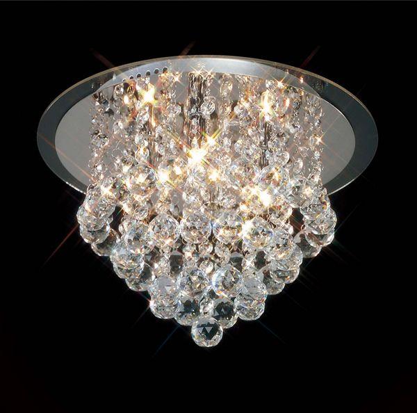 plafon ze zwisającymi kryształkami do wnętrz glamour, srebrna podstawa