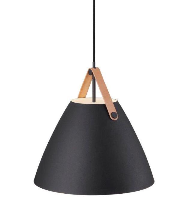 matowa, czarna lampa wisząca, nowoczesna