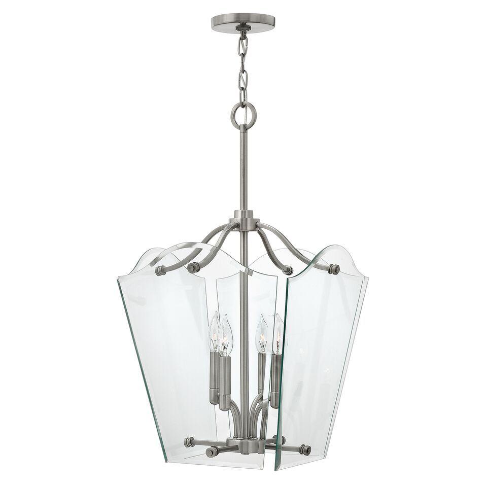 Dekoracyjna lampa wisząca Vintage - szkło, nikiel