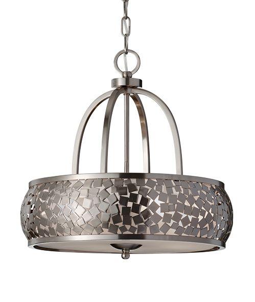 lampa wisząca metalowa, srebrna mozaika - aranżacja kuchnia