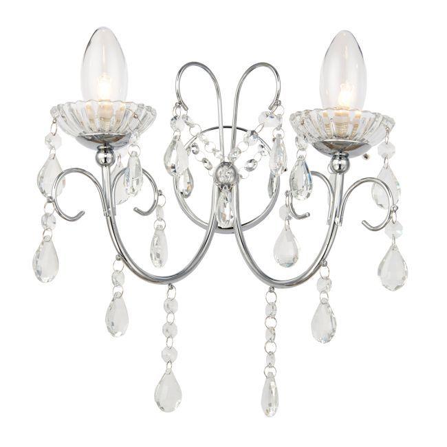 Dekoracyjny kinkiet Tabitha - Endon Lighting - dwie żarówki - srebrny