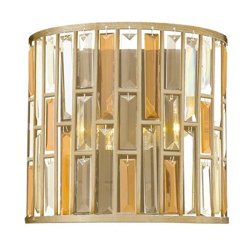 Dekoracyjny kryształowy kinkiet - Opal 2 - złoty