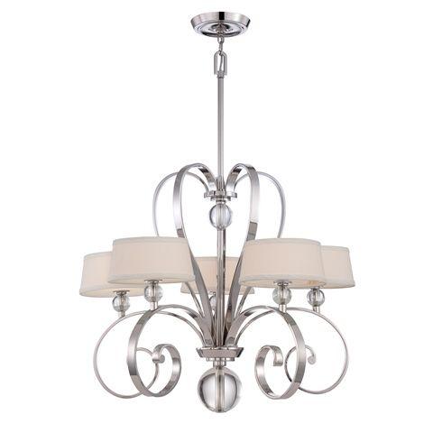 Dekoracyjny rozłożysty żyrandol - Kingston - szklane srebrne kule