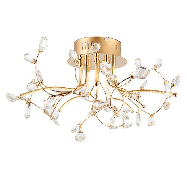 złota lampa sufitowa z dekoracyjnymi kryształami, gałązki