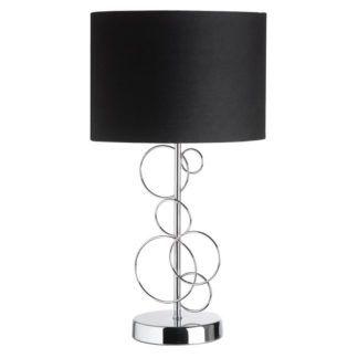 Designerska lampa stołowa Finchley - Endon Lighting - srebrna, czarna