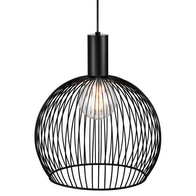 mała lampa wisząca z czarnym, ażurowym kloszem z metalu