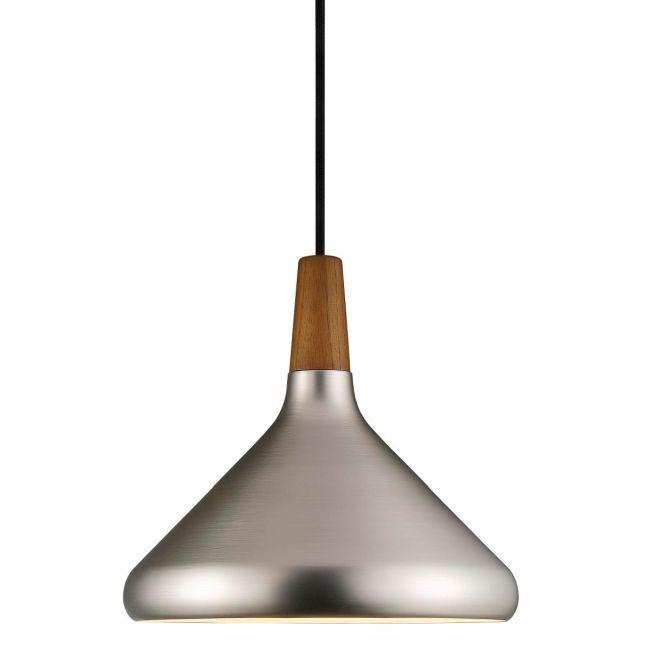ciemna, srebrna lampa wisząca z elementem z ciemnego drewna, styl skandynawski