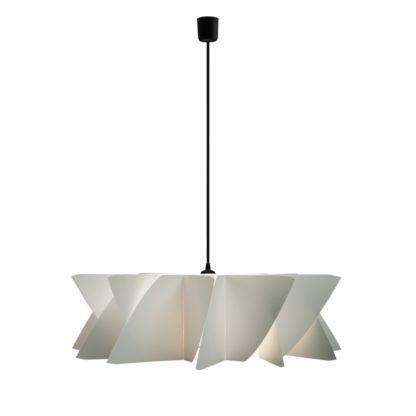 biała lampa z geometrycznym kloszem, czarny przewód