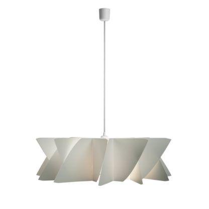 lampa wisząca z poziomym, geometrycznym kloszem, biały przewód