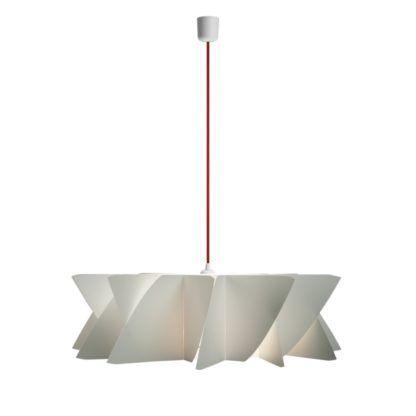 nowoczesna lampa wisząca z płaskim kloszem, czerwony przewód