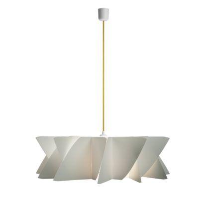 biała lampa z płaskim, geometrycznym kloszem, żółty przewód