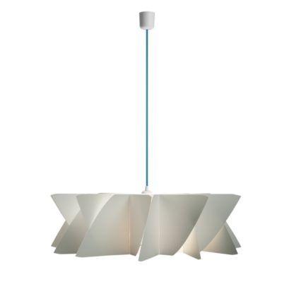 biała lampa wisząca, geometryczny klosz - niebieski przewód