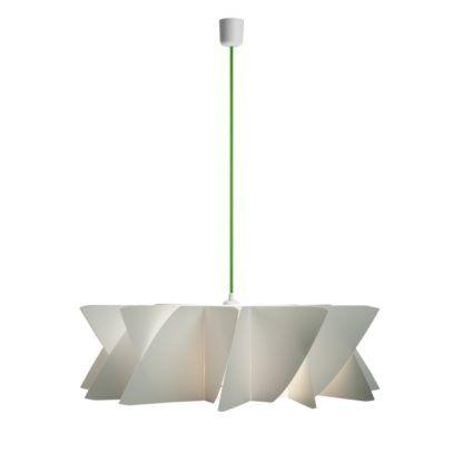 biała lampa wisząca z płaskim kloszem, zielony przewód