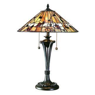 Duża lampa stołowa Bernwood - Interiors - szklany klosz
