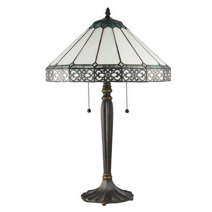 Duża lampa stołowa Boleyn - Interiors - brązowa podstawa