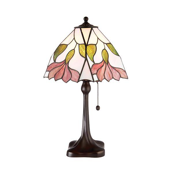 lampa stołowa z witrażowym kloszem w kwiaty
