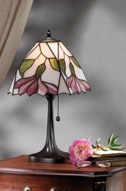 szklana lampa stołowa ze zintegrowanym włącznikiem