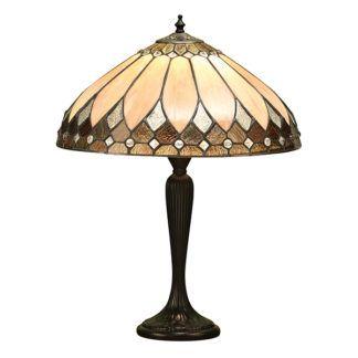 Duża lampa stołowa Brooklyn - Interiors - beżowa, brązowa