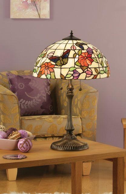 Duża lampa stołowa Butterfly - Interiors - kolorowy klosz