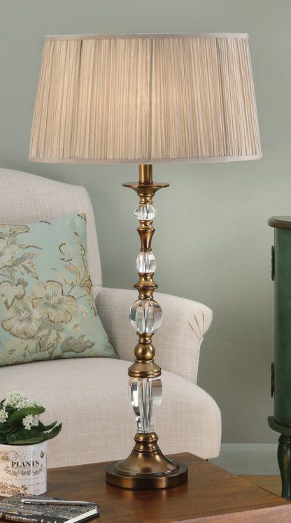 Duża lampa stołowa Polina - Interiors - mosiądz, beż
