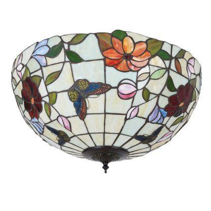 szklany plafon sufitowy w kwiaty i motyle